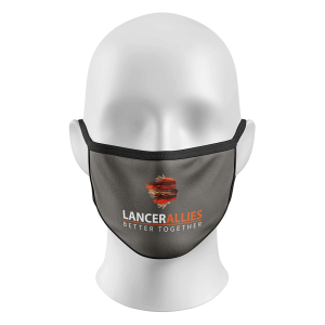 Face Mask Gray with Text and Logo