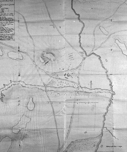 Wounded Knee Massacre Map at Pine Ridge Indian Reservation in southwestern South Dakota