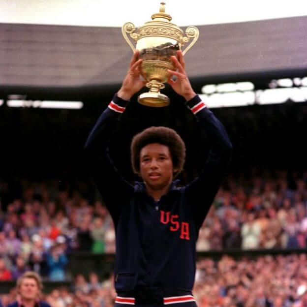 Arthur Ashe Hoisting Wimbledon Championship Trophy