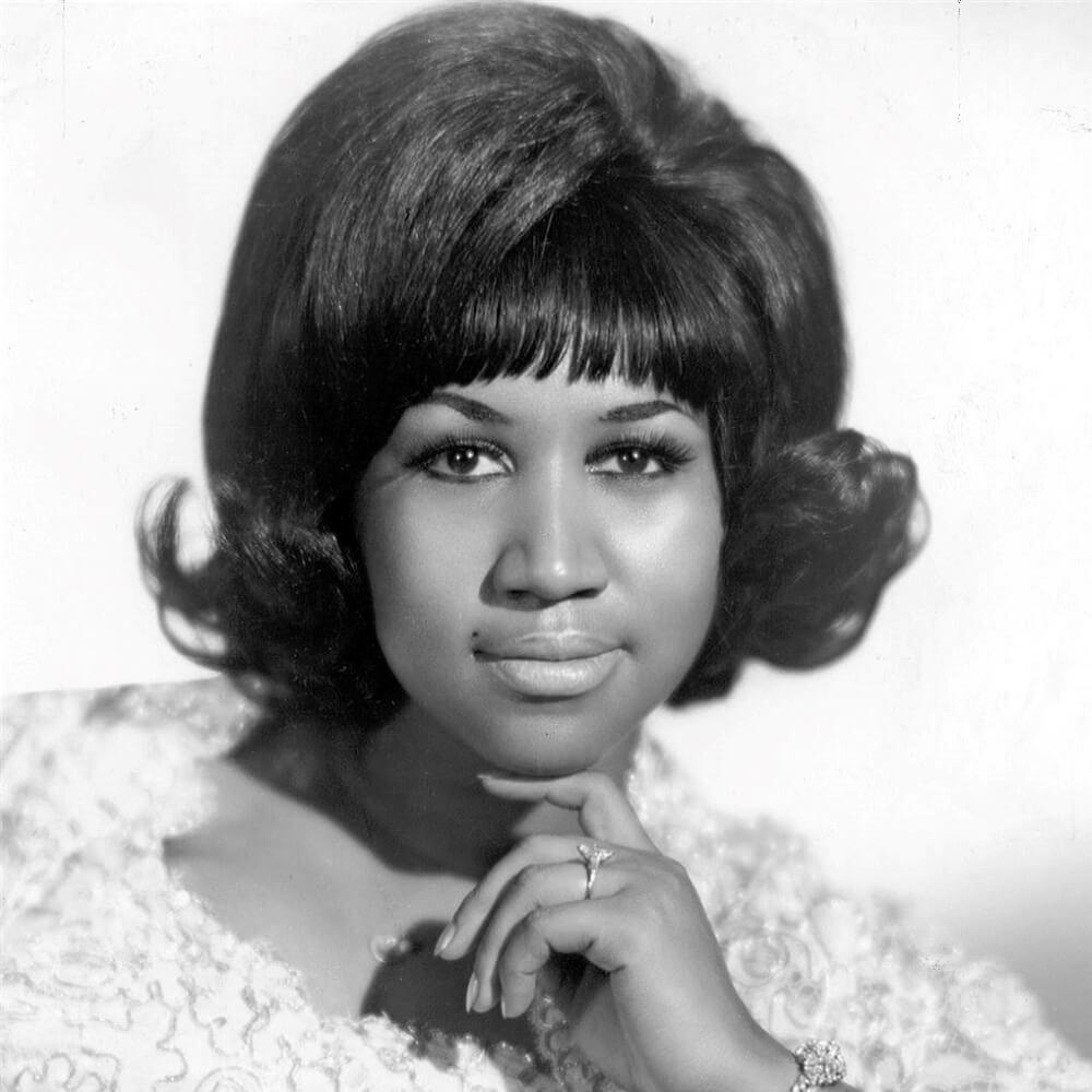 Aretha Franklin black and white portrait 1968