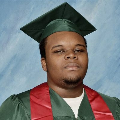 Michael Brown picture on square blue background